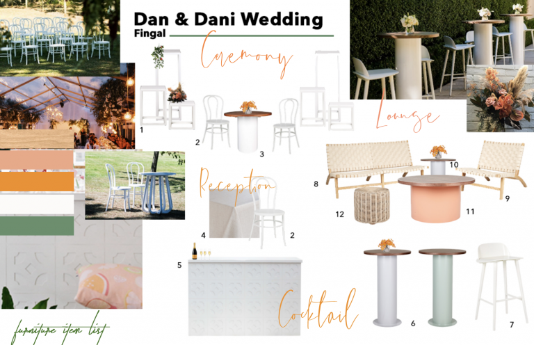 an and Dani wedding furniture list